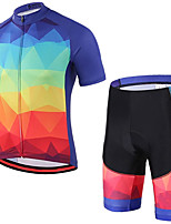 cheap -21Grams Men's Short Sleeve Cycling Jersey with Shorts Summer Spandex Polyester Red+Blue Gradient Bike Clothing Suit 3D Pad Quick Dry Moisture Wicking Breathable Reflective Strips Sports Gradient