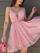 cheap -A-Line Flirty Minimalist Homecoming Engagement Dress V Neck Sleeveless Short / Mini Sequined with Sequin 2021
