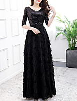 cheap -A-Line Minimalist Vintage Prom Formal Evening Dress V Neck Half Sleeve Floor Length Lace Sequined with Sequin 2021