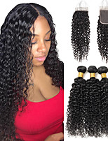 cheap -Brazilian Kinky Curly Bundles With Closure Beauty Human Hair Weave 3 Bundles With Closure Remy Bundles With 4x4 Lace Closure