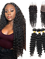 cheap -Deep Wave Bundles With Closure Brazilian Human Hair Deep Curly Bundles With Closure Remy 3 bundles With Lace Closure