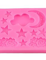 cheap -Cloud Stars Moon Shaped Silicone Mold DIY Chocolate Fondant Cake Decoration Clay Baking Tools