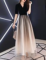 cheap -A-Line Minimalist Gradient Engagement Formal Evening Dress V Neck Half Sleeve Floor Length Tulle Velvet with Sleek 2021