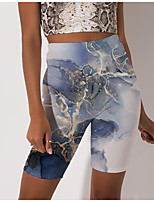 cheap -Women's Stylish Athleisure Breathable Soft Beach Fitness Biker Shorts Pants Color Block Graphic Prints Knee Length Print Blue
