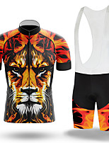 cheap -Men's Short Sleeve Cycling Jersey with Bib Shorts Winter Summer Spandex Black / Yellow Tiger Bike Quick Dry Breathable Sports Tiger Mountain Bike MTB Road Bike Cycling Clothing Apparel / Stretchy