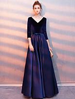 cheap -A-Line Minimalist Vintage Wedding Guest Formal Evening Dress V Neck 3/4 Length Sleeve Floor Length Satin Velvet with Sleek 2021