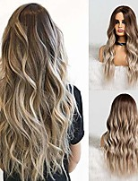 cheap -esmee synthetic dark root light brown ombre grey long wavy hair wigs center part cosplay costume wig for white black women