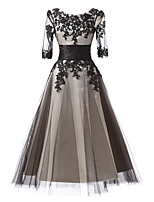 cheap -Ball Gown Elegant Floral Wedding Guest Formal Evening Dress Jewel Neck Half Sleeve Ankle Length Lace with Lace Insert Appliques 2021