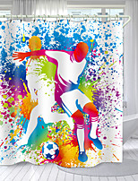 cheap -Oil Painting Football Series Digital Printing Shower Curtain Shower Curtains  Hooks Modern Polyester New Design 72 Inch