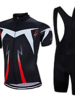 cheap -21Grams Men's Short Sleeve Cycling Jersey with Bib Shorts Summer Spandex Polyester Black / Red Lightning Bike Clothing Suit 3D Pad Quick Dry Moisture Wicking Breathable Reflective Strips Sports