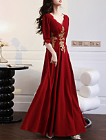 cheap -A-Line Elegant Floral Engagement Formal Evening Dress V Neck Half Sleeve Floor Length Stretch Fabric with Embroidery Appliques 2021