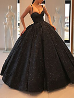 cheap -Ball Gown Glittering Sparkle Engagement Formal Evening Dress Sweetheart Neckline Spaghetti Strap Sleeveless Sweep / Brush Train Sequined with Sequin 2021