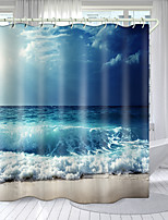 cheap -Tide Beach Series Digital Printing Shower Curtain Shower Curtains  Hooks Modern Polyester New Design 72 Inch