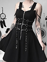 cheap -A-Line Gothic Sexy Halloween Party Wear Dress Sweetheart Neckline Sleeveless Short / Mini Cotton with Sash / Ribbon 2021