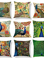 cheap -Peacock Floral Double Side Cushion Cover 1PC Soft Throw Pillow Cover Cushion Case Pillowcase for Sofa Bedroom Livingroom Superior Quality Machine Washable  Outdoor Cushion for Sofa Couch Bed Chair
