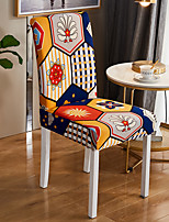 cheap -Stretch Kitchen Chair Cover Slipcover for Dinning Party Boho Plaid Four Seasons Universal Super Soft Fabric Retro Hot Sale