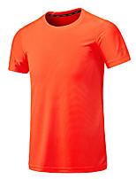 cheap -Men's T shirt Hiking Tee shirt Tee Tshirt Top Outdoor Quick Dry Lightweight Breathable Sweat wicking Summer fluorescent green White Black Hunting Fishing Climbing
