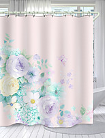 cheap -Simple Multicolor Flower Series Digital Printing Shower Curtain Shower Curtains  Hooks Modern Polyester New Design 72 Inch