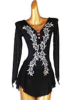 cheap -Figure Skating Dress Women's Girls' Ice Skating Dress Black Open Back Patchwork High Elasticity Training Competition Skating Wear Classic Long Sleeve Ice Skating Figure Skating