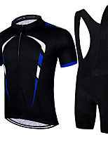 cheap -21Grams Men's Short Sleeve Cycling Jersey with Bib Shorts Summer Spandex Polyester Black Bike Clothing Suit 3D Pad Quick Dry Moisture Wicking Breathable Reflective Strips Sports Graphic Mountain Bike