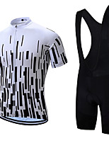 cheap -21Grams Men's Short Sleeve Cycling Jersey with Bib Shorts Summer Spandex Polyester Black+White Bike Clothing Suit 3D Pad Quick Dry Moisture Wicking Breathable Reflective Strips Sports Vertical Stripes