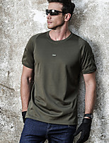 cheap -Men's T shirt Hiking Tee shirt Military Tactical Shirt Short Sleeve Tee Tshirt Top Outdoor Quick Dry Lightweight Breathable Sweat wicking Spring Summer Round neck black Round neck green Round neck