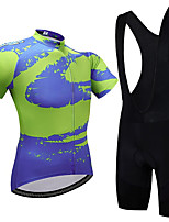 cheap -21Grams Men's Short Sleeve Cycling Jersey with Bib Shorts Summer Spandex Polyester Blue Bike Clothing Suit 3D Pad Quick Dry Moisture Wicking Breathable Reflective Strips Sports Graphic Mountain Bike