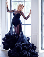 cheap -Ball Gown Elegant Party Wear Dress Jewel Neck Long Sleeve Court Train Tulle with Ruffles 2021