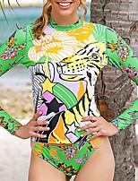 cheap -Women's Rashguard Swimsuit Nylon Swimwear UV Sun Protection UPF50+ Quick Dry Stretchy Long Sleeve 2 Piece - Swimming Surfing Snorkeling Floral / Botanical Autumn / Fall Spring Summer