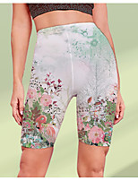 cheap -Women's Stylish Athleisure Breathable Soft Beach Fitness Biker Shorts Pants Flower / Floral Graphic Prints Knee Length Print Green