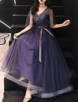 cheap -A-Line Elegant Vintage Prom Formal Evening Dress V Neck Half Sleeve Floor Length Tulle with Sash / Ribbon Lace Insert 2021