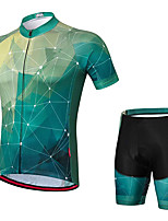cheap -21Grams Men's Short Sleeve Cycling Jersey with Shorts Summer Spandex Polyester Green Bike Clothing Suit 3D Pad Quick Dry Moisture Wicking Breathable Reflective Strips Sports Grid / Plaid Mountain