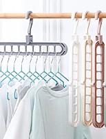 cheap -Nine-hole Hanger Storage and Premium Rubber Coated Metal Hangers Space Saving Organiser Clothes Hangers for Wardrobes Coat Rack Rails Random Color 33pcs