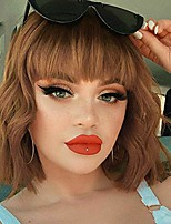 """cheap -12"""" short curly bob wig wavy wave bob wigs with bangs synthetic hair wigs for women girls heat resistant fiber hair wigs(#8/30)……"""