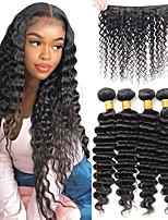 cheap -Deep Wave Human Hair Bundles Peruvian Hair Weave Natural Color Remy Human Hair Extensions 4 Bundles Hair