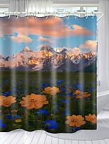 cheap -Color Flower Series Digital Printing Shower Curtain Hook Polyester Modern New Bathroom Shower Curtain Design