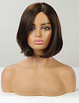 cheap -Human Hair Capless Wigs Human Hair Straight / Natural Straight Bob / Pixie Cut / Layered Haircut / Asymmetrical Style Women / Fashion / Natural Hairline Brown Short Capless Wig Women's / All