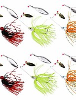 cheap -6pcs/pack fishing lures spinnerbaits, hard metal spinner baits with double willow blades, freshwater lures for bass trout perch walleye carp 3 sizes