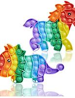 cheap -2 pcs Push Pop It Bubble Sensory Fidget Toys - Pop Its Autism Special Needs Stress Relief Silicone Pressure Relieving Squeeze Toys for Kids Children Adults (Large Rainbow Dinosaur & Horse)