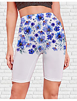 cheap -Women's Stylish Athleisure Breathable Soft Beach Fitness Biker Shorts Pants Flower / Floral Graphic Prints Knee Length Print White