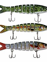 cheap -bass fishing lures hard swimbaits pro fish baits tackle 3 pcs set 8 segments multi jointed slow sink #6 treble hook life-like 3d eyes - jerkbait, crankbait, spinbait, bass swim bait (combo a)