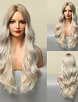 cheap -HAIR CUBE Ombre Blonde White Highlight Long Wave Wigs Middle Part Synthetic Wigs for Women Heat Resistant Party Cospaly Wig