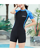 cheap -Women's Rash Guard Dive Skin Suit Nylon Spandex Swimwear UV Sun Protection UPF50+ Quick Dry Stretchy Short Sleeve Front Zip - Swimming Diving Surfing Snorkeling Patchwork Summer