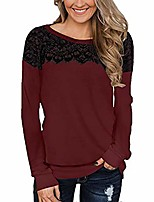 cheap -monerffi womens long sleeve tops casual lace t shirt blouses tunic tops soft crewneck sweatshirt ladies jumpers pullover(wine red,s)