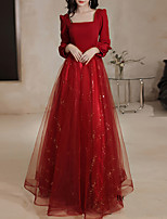cheap -A-Line Glittering Elegant Engagement Formal Evening Dress Scoop Neck Long Sleeve Floor Length Tulle Stretch Fabric with Sequin 2021