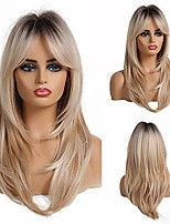 cheap -fashionable female blonde natural hair synthetic wig, medium-length light golden bangs wig, heat-resistant fiber,wigs for white women