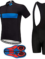 cheap -21Grams Men's Short Sleeve Cycling Jersey with Bib Shorts Summer Spandex Polyester Black / Blue Bike Clothing Suit 3D Pad Quick Dry Moisture Wicking Breathable Reflective Strips Sports Horizontal
