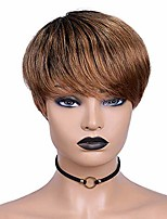 cheap -blisshair pixie cut wigs with bangs ombre short human hair wigs short straight pixie wigs boy cut wig for black women color t1b/30