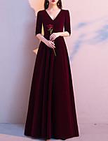 cheap -A-Line Minimalist Vintage Engagement Formal Evening Dress V Neck Half Sleeve Floor Length Velvet with Sleek 2021