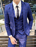 cheap -Men's Wedding Notch Tailored Fit Single Breasted One-button Straight Flapped Plaid Polyester